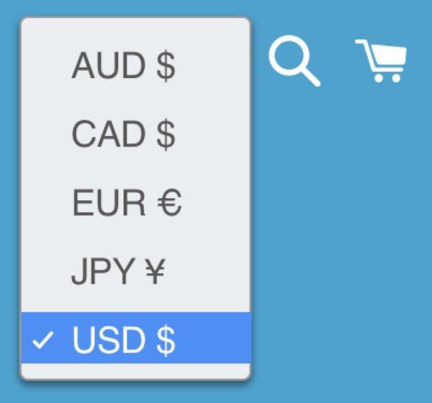 Shopify действительно облегчает продажу в нескольких валютах из коробки, но - если вы не пользуетесь дорогим планом Shopify Plus - только через селектор валют.