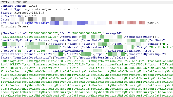 This white oak screenshot of code explains the Server response showing that the unauthenticated XXE payload was detonated