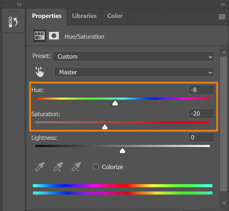 Decrease the Saturation, and you can adjust the Hue slider to achieve the right shade of blonde