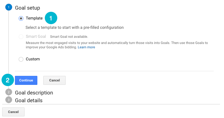 set up google analytics goals, step 2