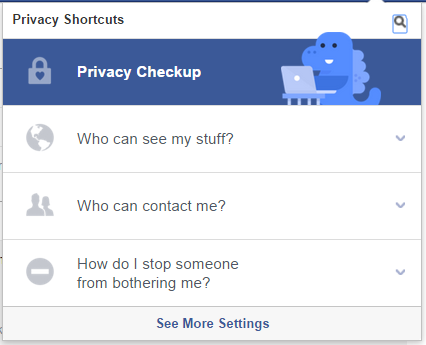 screenshot of privacy shortcuts on Facebook