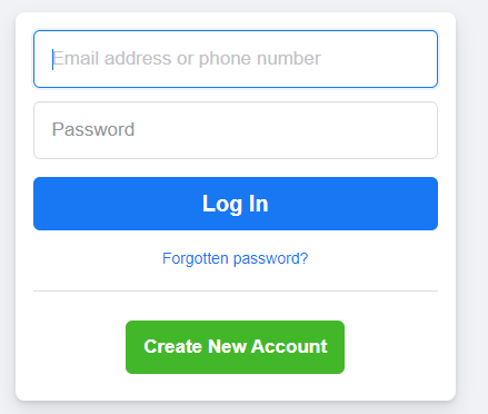 Facebook log in image