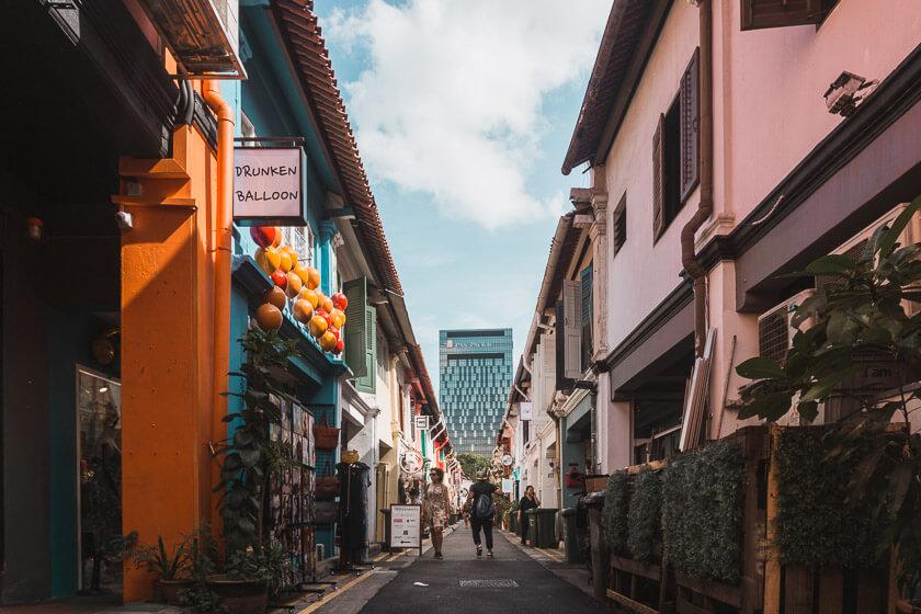 Walking down Haji Lane in Singapore.