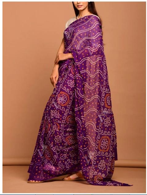 Vasansi Purple Georgette Bandhani Saree