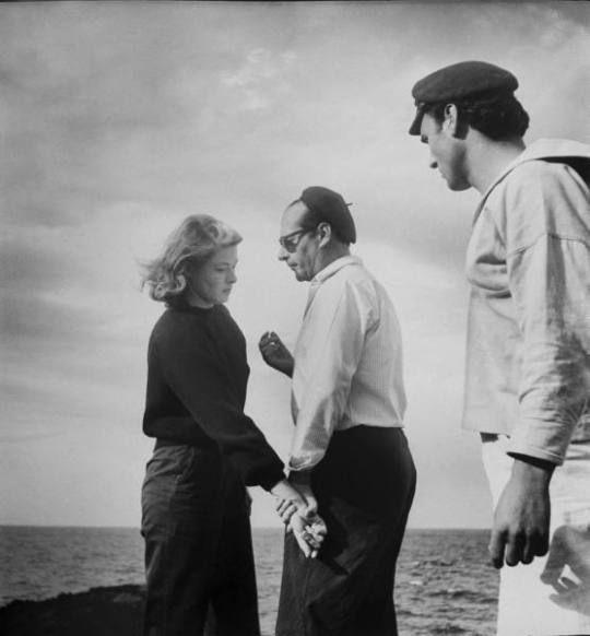 Ingrid Bergman,Roberto Rossellini and Mario Vitale during the filming of  Stromboli,1949. Photo, Gordon Parks/The LIFE Picture Collection | Famosos,  Cine, Arte