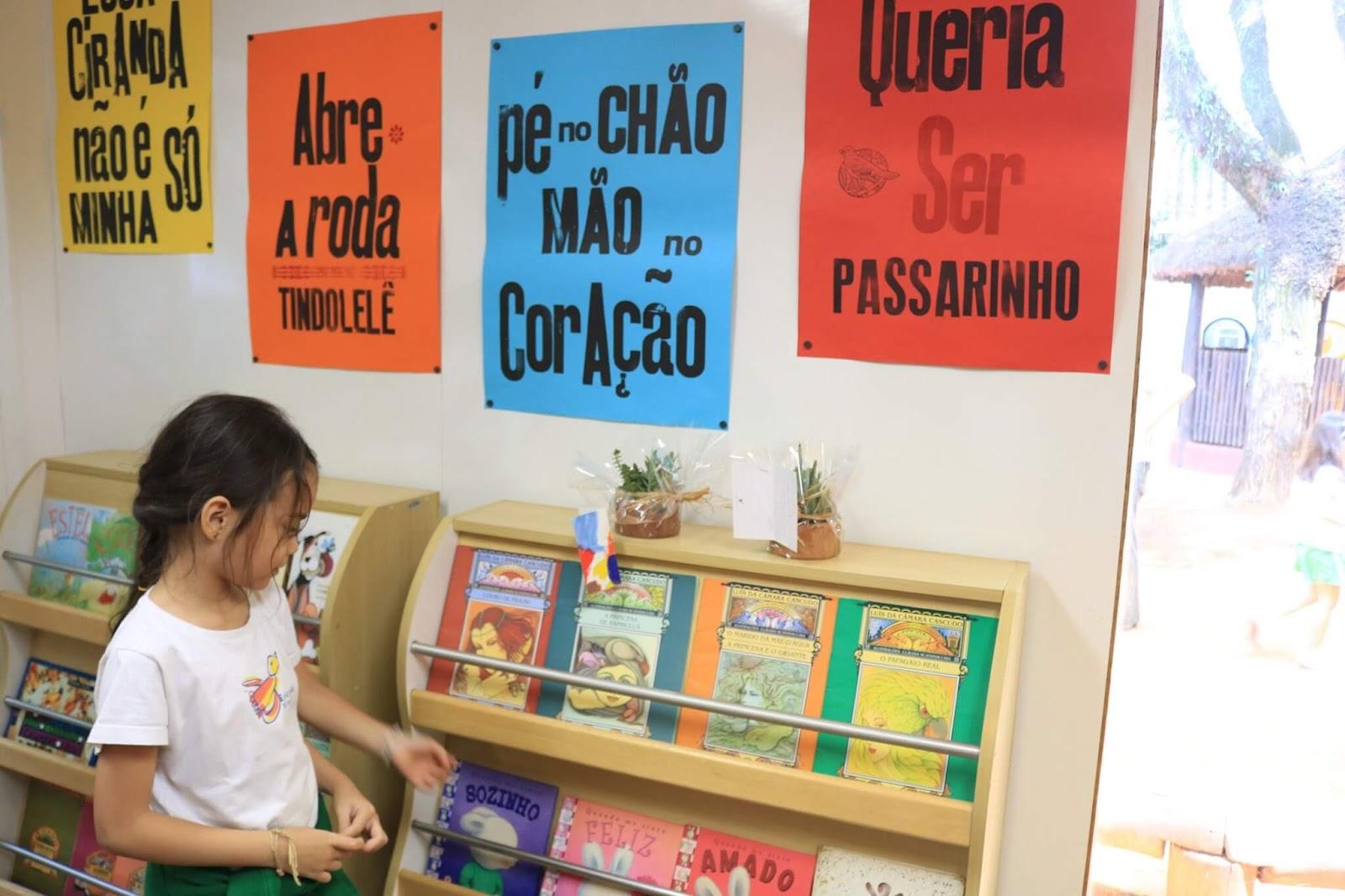A imagem mostra uma criança em frente a duas estantes de livros. Acima da estante, cartazes coloridos.