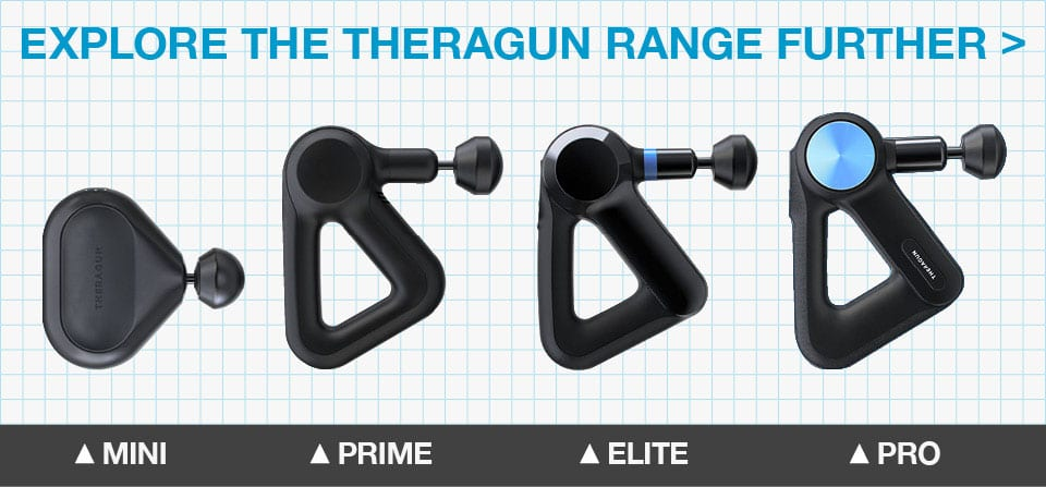Shows Theragun has different varieties of percussion massage guns