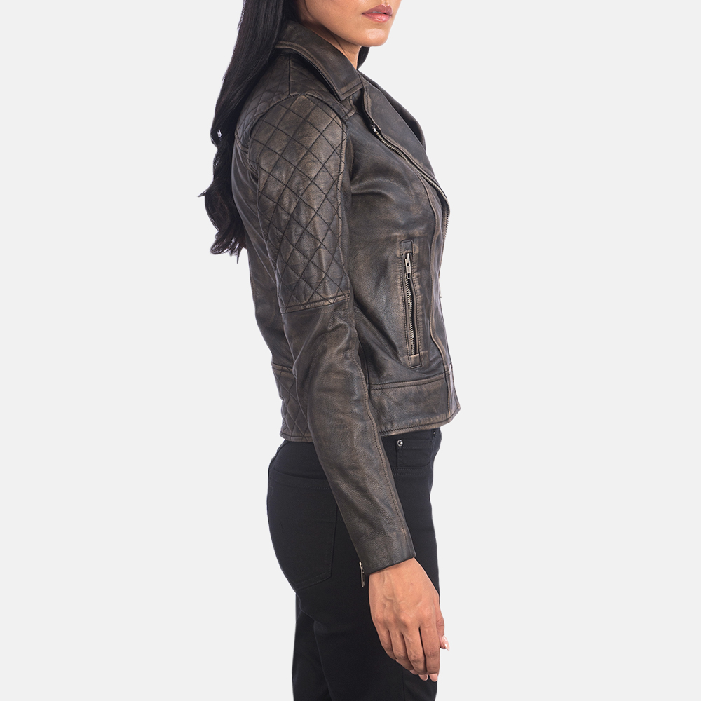 girl in a petite leather jacket