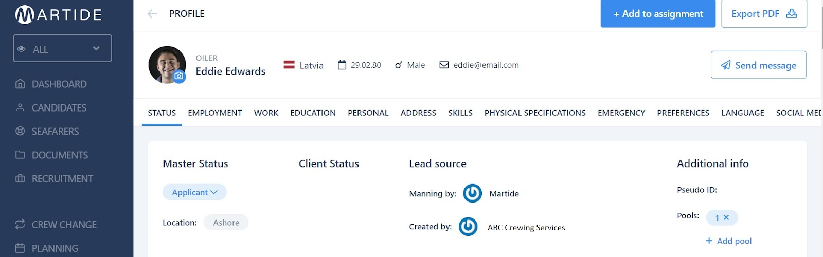 screenshot of Martide website showing a candidate's seafarer profile
