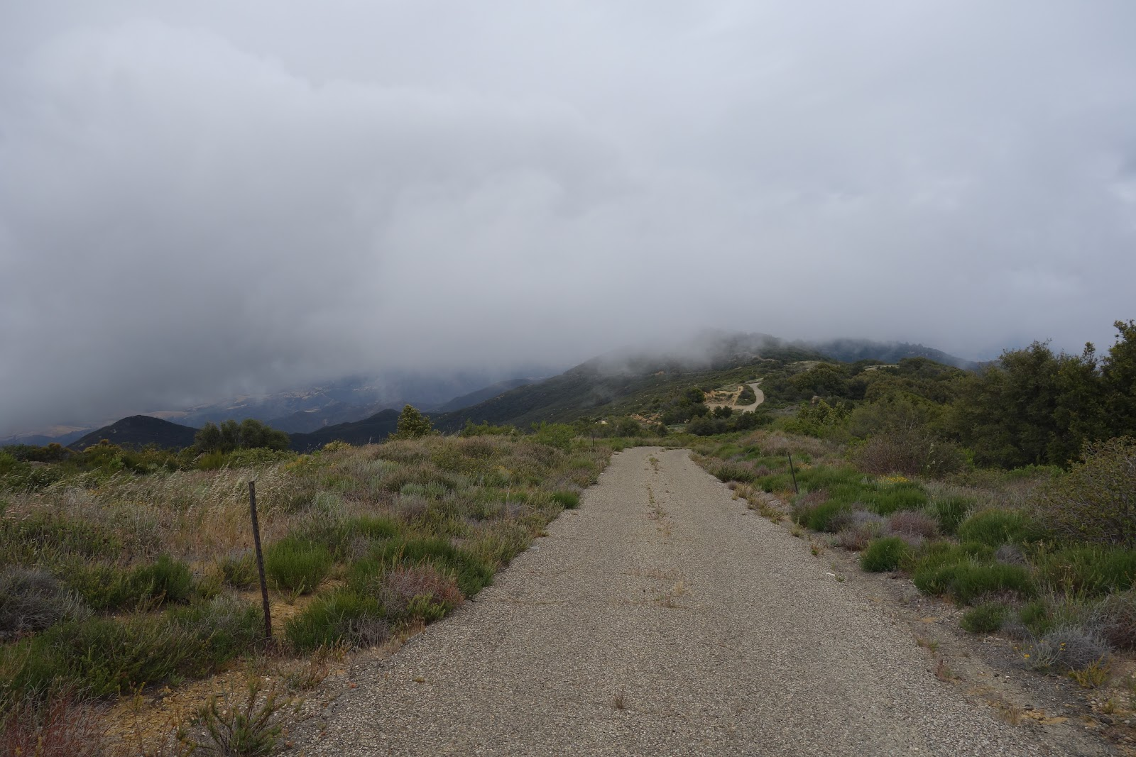 Bicycle climb to top of Refugio Bike Climb - W. Camino Cielo - looking down at road from top of climb