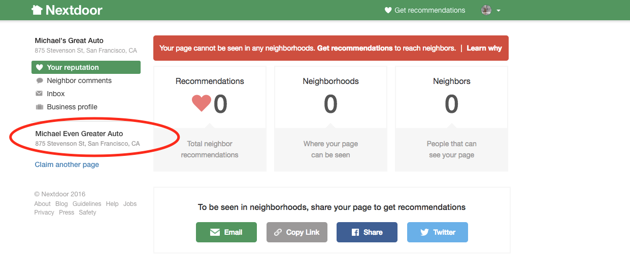 How to claim multiple business pages Nextdoor App Multiple Addresses on