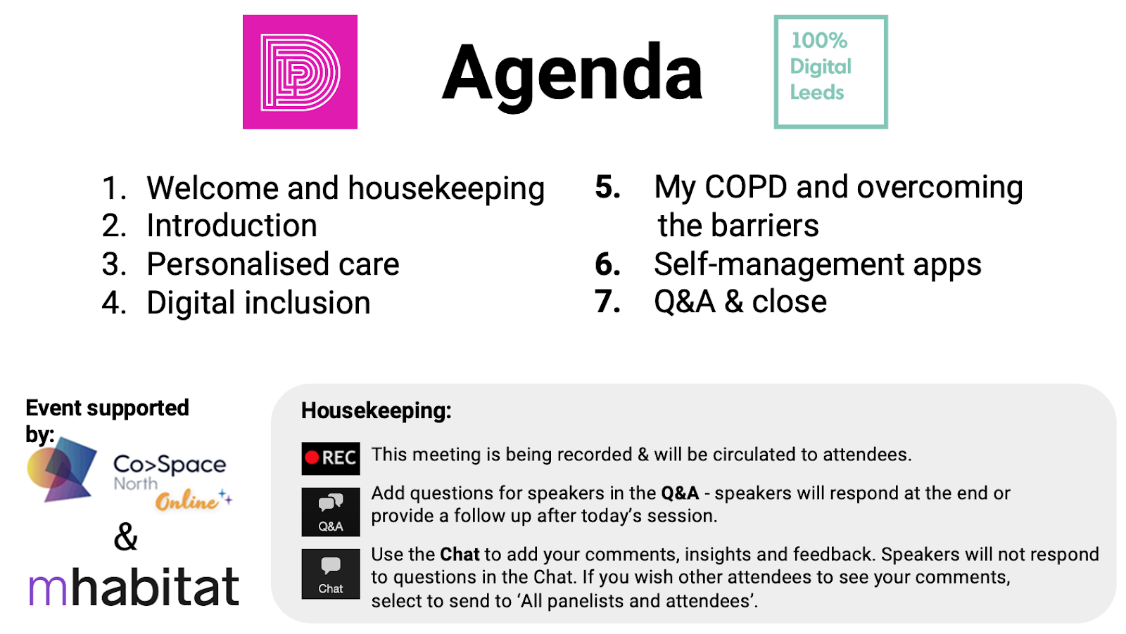 Example 'welcome' slide including logos, agenda, housekeeping rules