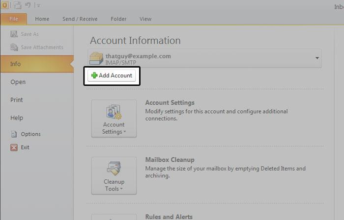 Account Information Outlook