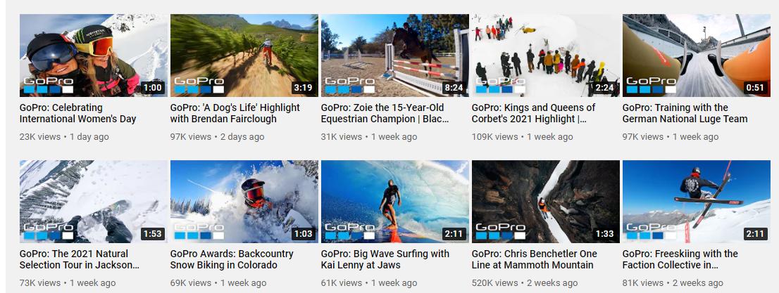 gopro youtube channel screenshot