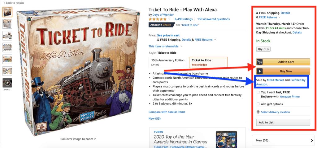 Screenshot showing the Amazon Buy Box.