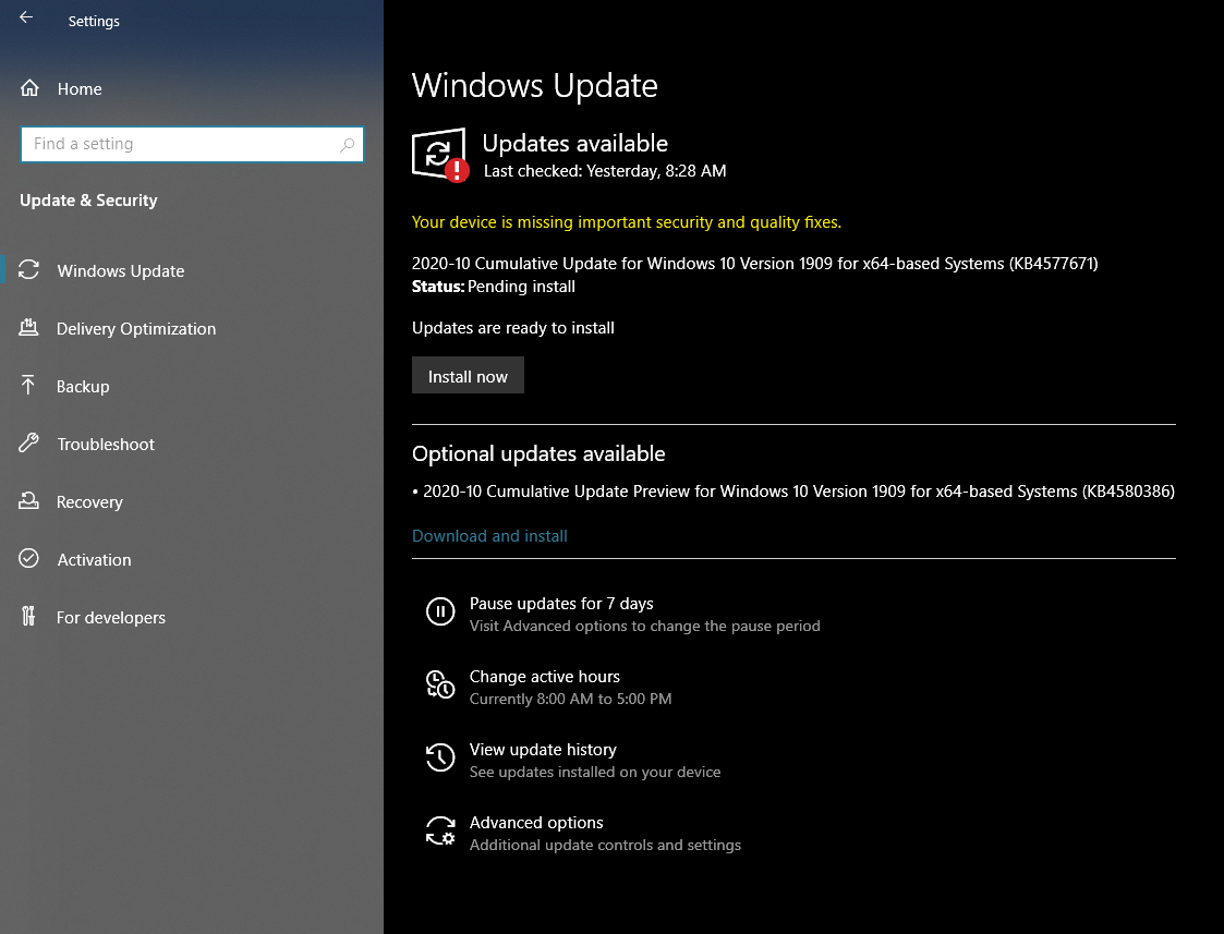 Install Windows Update