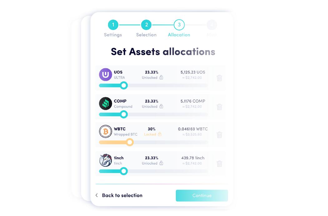 Caputure d'écran des actifs disponibles