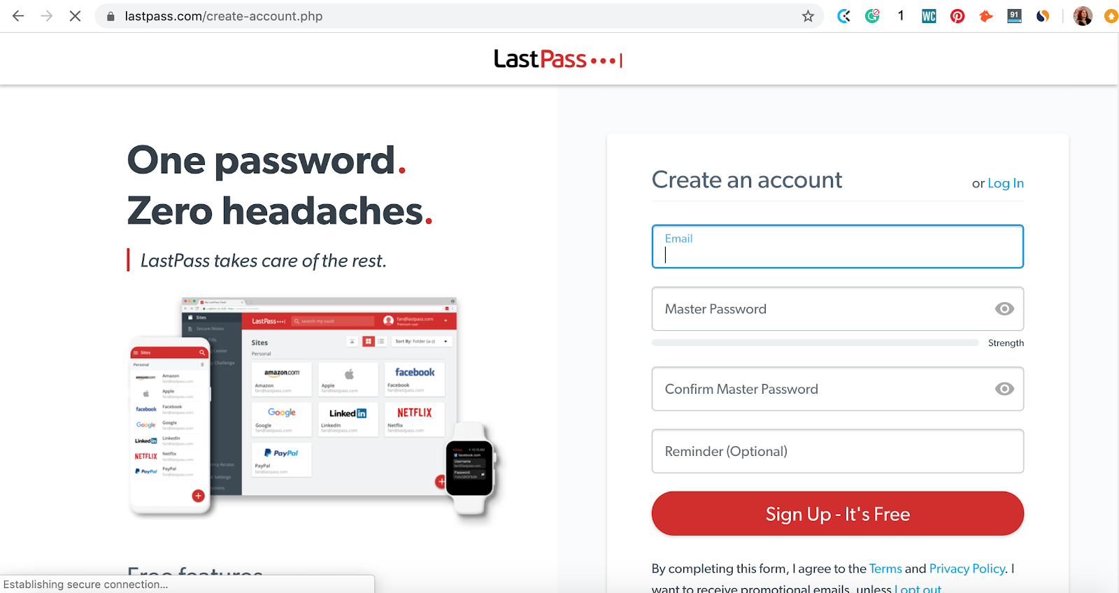 How to create new account with LastPass password manager app. Part of the article by Hana Clode Marketing 'LastPass Password Manager - Apps to Make Your Life Easier'.