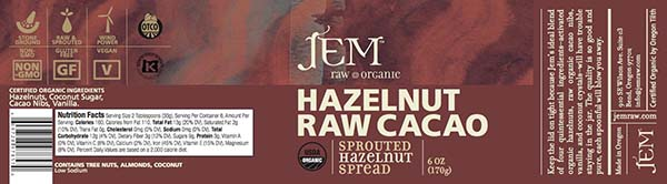 Label, JEM Raw Organic HAZELNUT RAW Cacao Sprouted Hazelnut Spread, 6 oz.