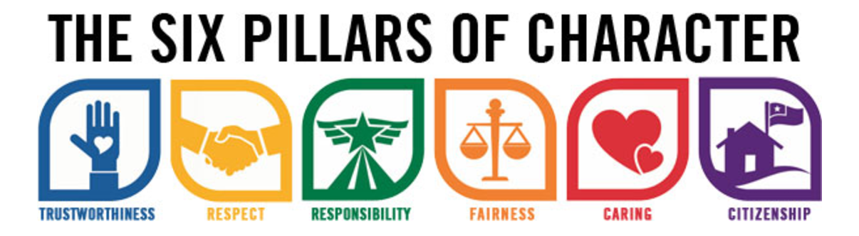 The six pillars of Character - Trustworthiness, Respect, Responsibility, Fairness, Caring, and Citizenship