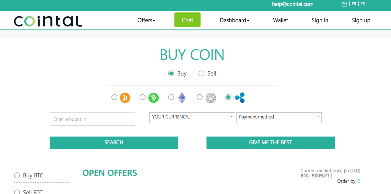 "Cointal's ""Buy coin"" offer form"