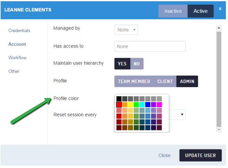 Sendible collaboration color codes settings