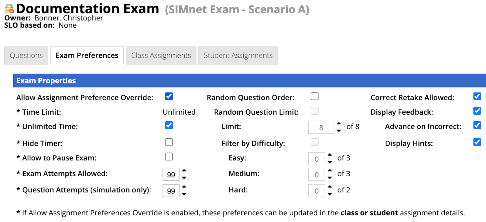 Exam Properties Tab with new property view