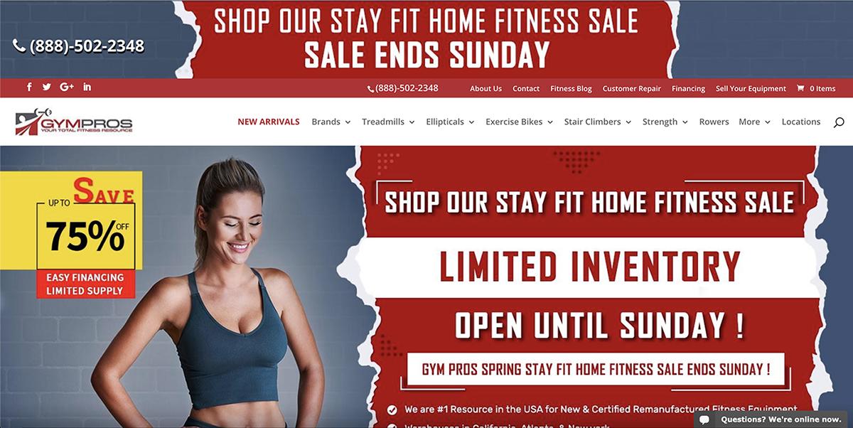 Gym Pros Website Screenshot