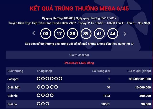 Nếu tờ vé số trùng 3 số tới 6 số thì bạn đã trúng giải Xổ số Mega 6/45