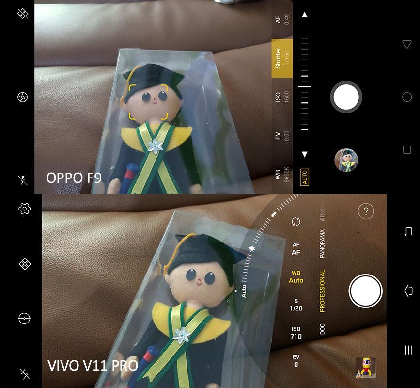 Perbandingan pengaturan profesional kamera Oppo F9 dan Vivo V11 Pro