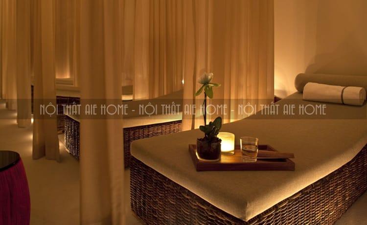 Mẫu giường đơn giản nhưng đảm bảo được sự sang trọng lịch sự thanh lịch của một spa cần có.
