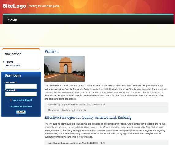 Preview of Gordon Theme at Drupal 7.8