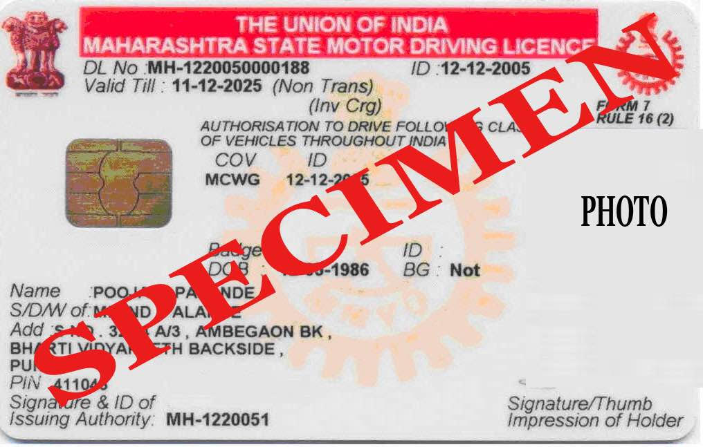 sample duplicate driving licence