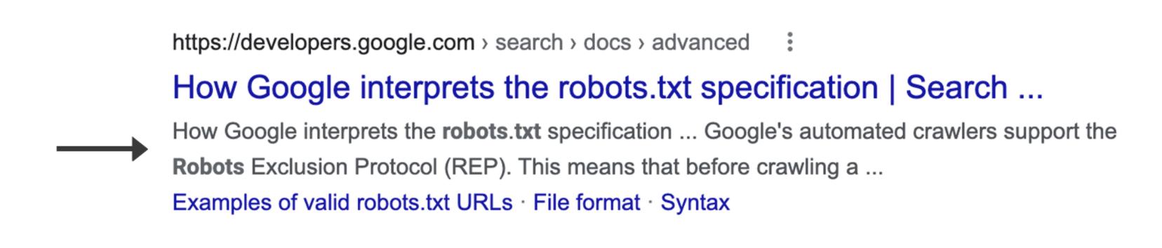Screenshot eines einzelnen Google Suchergebnisses die Description Markiert ist, der Teil den Google selbst als das Snippet definiert.