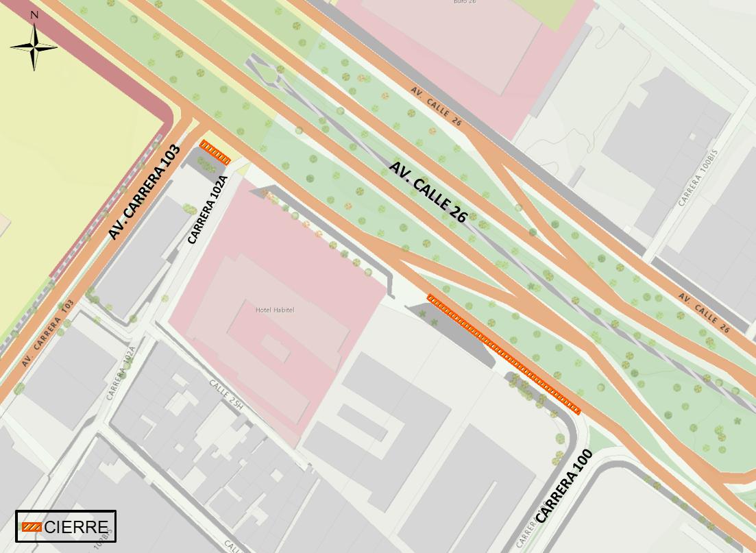 Mapa 1. Zona de obra. Cierre del carril sur de la calzada lenta sur de la av. calle 26 entre la carrera 100 y 100m al Occidente