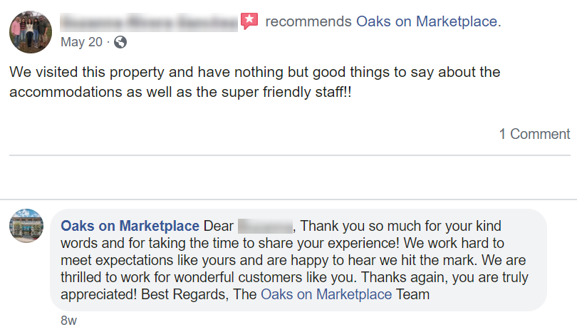 Oaks on Marketplace apartment complex responding to positive feedback on Facebook