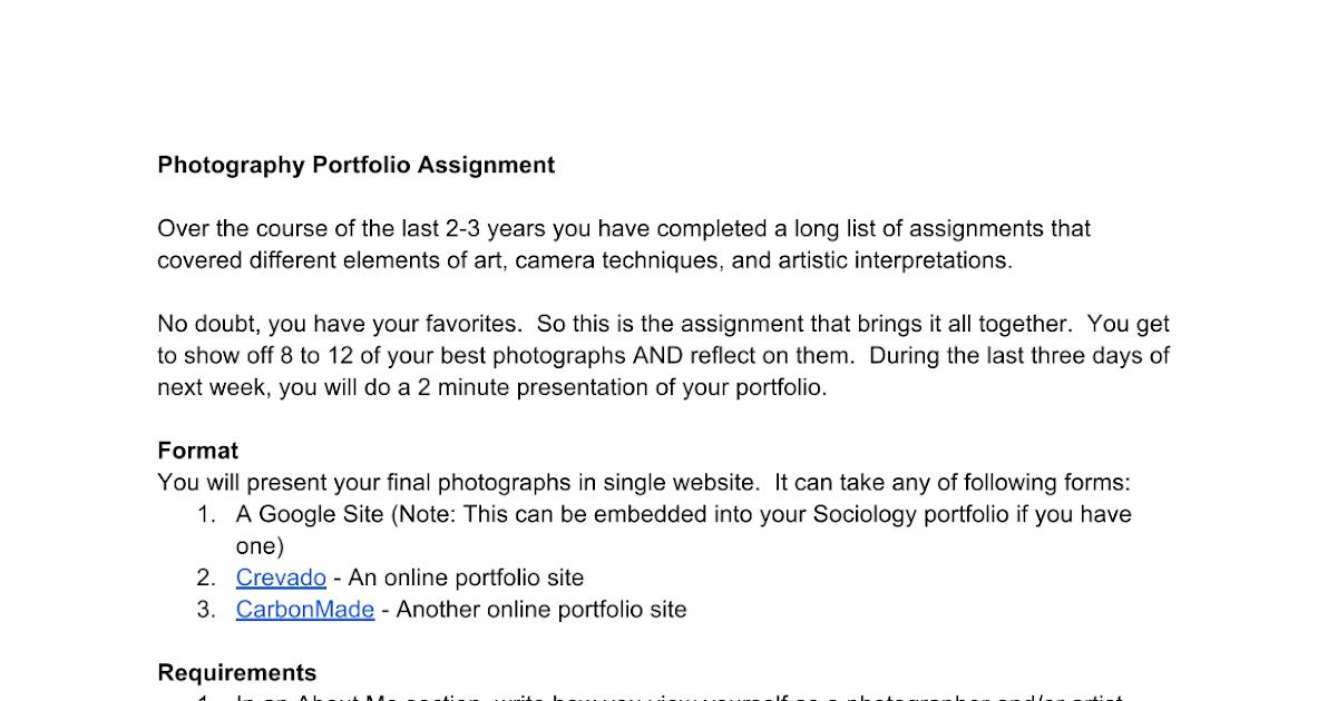 Photography Portfolio Assignment