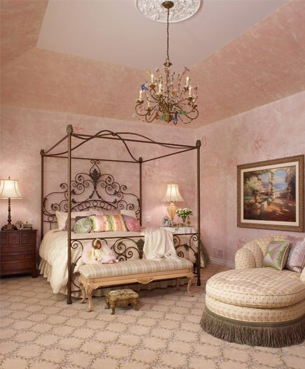 French Shabby Chic Style for Large Pink Bedroom