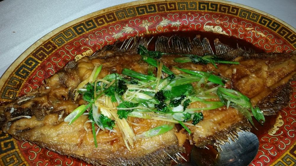Photo of Pearl Garden - San Ramon, CA, United States. Whole fish, flounder, deep fried with ginger, green onions, in a soy sauce