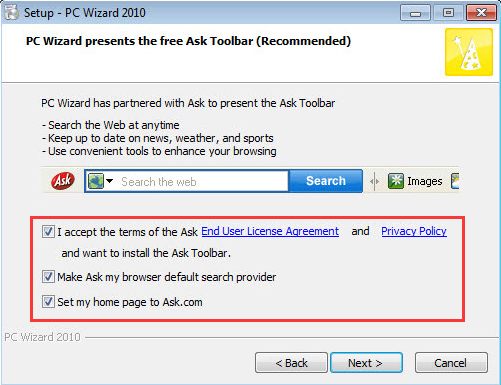 Ask Toolbar Checkboxes