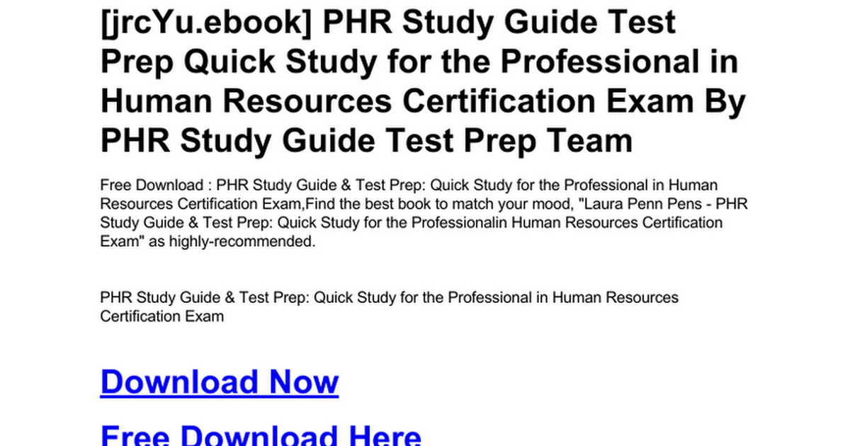 Phr Study Guide Test Prep Quick Study For The Professional In Human
