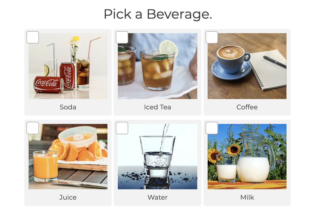 pick a beverage with image choices