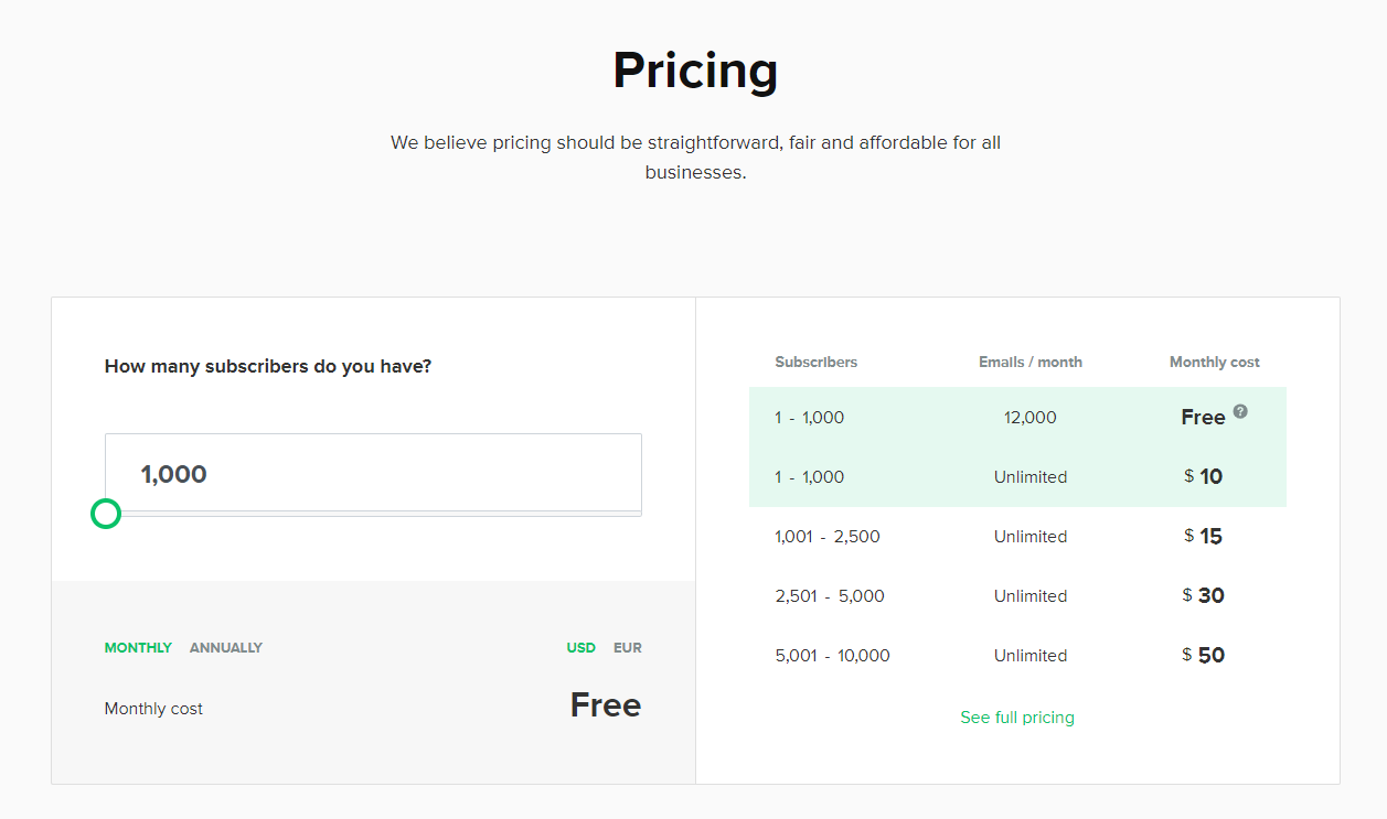 a screenshot of the pricing page of Mailerlite website
