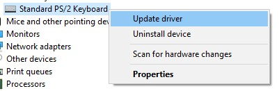 The Update driver option for a keyboard driver