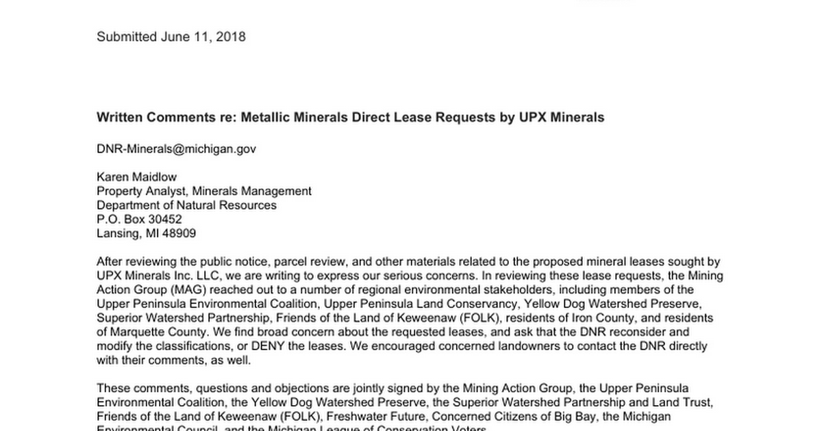 Written Comments - UPX Mineral Lease Requests - Google Docs