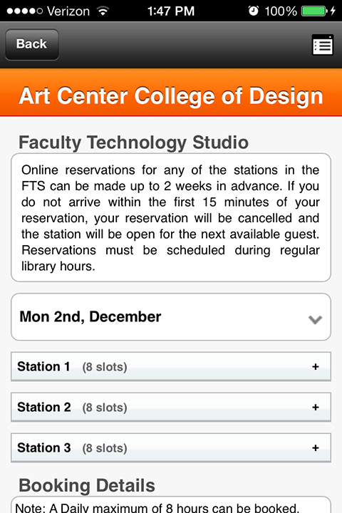 Screenshot of ACCD Library App In Action - Faculty Technology Studios