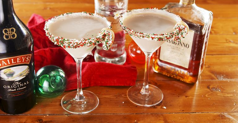 Two martini glasses filled with sugar cookie martinis