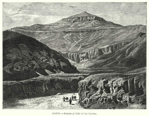 Image of Entrance to the Valley of the Kings, Egypt. Illustration from El Mundo Ilustrado Biblioteca de Las Familias (The Illustrated World Library of Families) (Biblioteca Ilustrada de Espasa Hermanos, Barcelona, c 1880), © Look and Learn / Bridgeman Images