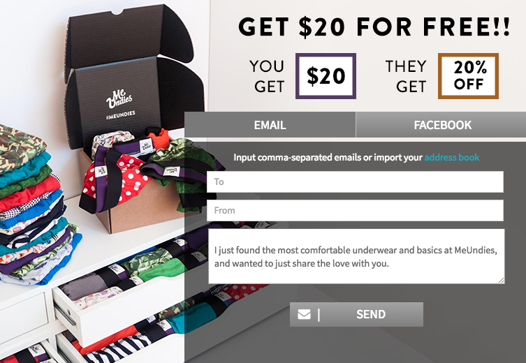 MeUndies referral discount code.
