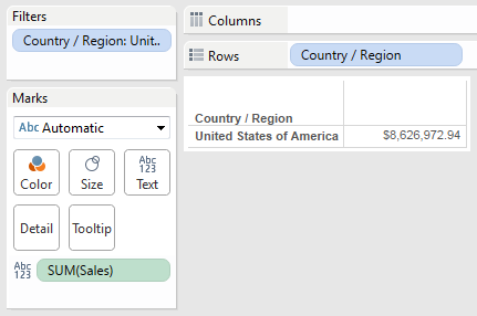 Equivalent Tableau view for our LOD calculation